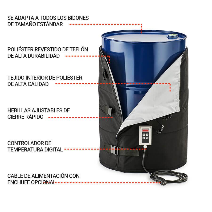 Todas las características de un calefactor de bidón de HeatXperts